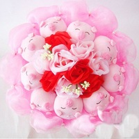 Valentines Gift    9 Lovely  Piggys With DIY Gift Box    Cartoon Doll Bouquet