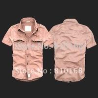 summer men's clothing 100% cotton bags water wash epaulette short-sleeve shirt male tooling shirt