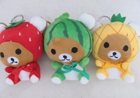 3PCS Kawaii New Sitting 11CM Height Fruit Rilakkuma Bear Plush Stuffed TOY , Soft Figure DOLL Key Chain TOY BAG Pendant Charm