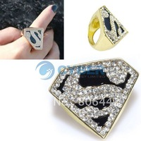 Free Shipping Fashion Hot Gold Plated Black Glazed Crystal Superman Finger Ring