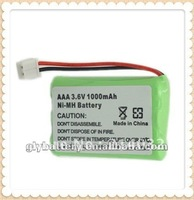 Ni-MH 1000mAh AAA 3.6V rechargeable batteries/Cells packs for wireless telephone