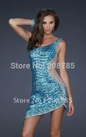Hot sale One shoulder  Celebrity Dresses Sheath Fold Knee length  Rhinestone Beaded Sequin