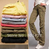 2012 summer women straight pants overalls loose mid waist casual long trousers autumn 5004