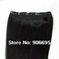 One Piece Clip In Hair Extensions 1B#  16/20/24inch 5 clips 80g/piece Accept Custom Order Free Shipping