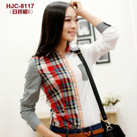 Free shipping-fashion  ladies' blouse plaid pocket decorated turn-collar spring and autumn cotton shirts  S M L -on sale