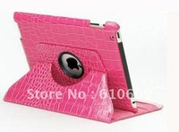 Crocodile 360 Degree rotary leather Cover Stand Holder for ipad3 for ipad2 with auto sleep function