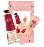 Free shipping NEW ARRIVAL 100% High Quality ROSE AMOUR hugs & kisses Hand Cream 30ML + 15ml lip balm 3sets/LOT HOT SELLING