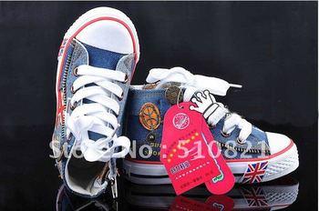 Boy&girl Canvas Shoes kids Cute Leisure Shoes High Tie Zipper Sports Shoes Sneakers Board Shoe Rubber Bottom Flag Shoelaces