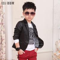 Child autumn outerwear male outerwear children's clothing belt brooch black suit