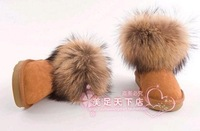 Free shipping! 2012 new women's arrival The fox wool snow boots the true cow boots short boots