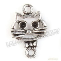 New Fashion 150pcs/lot Cat  Animal Charms Silver Plated Zinc Alloy Pendant Jewelry Finding Fit Jewelry DIY 21*14*2mm 142407