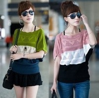 2046 2012 short-sleeve air conditioning shirt cutout fashion batwing sleeve cover sweater female