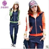 2046 autumn casual sports set female denim patchwork sweatshirt set