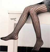 S28 vintage carved bars fishing net socks calf jacquard pantyhose stockings