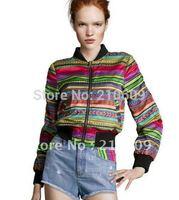 Colorful pop stripes two sides wear short coat jacket