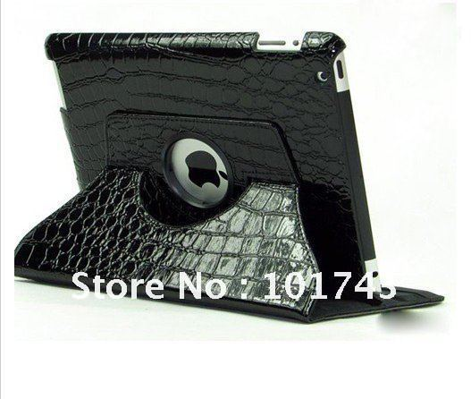 Crocodile Pattern 360 Degrees Rotating Stand Magnetic Smart Cover Leather Case For ipad 2 3 Free Shipping(Hong Kong)