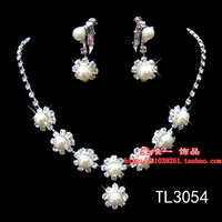 wholesale 5pcs/lot Bride brief chain sets rhinestone pearl necklace earrings accessories twinset marriage yarn jewelry 3054