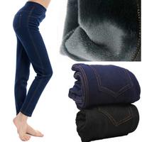 Winter thickening velvet warm pants length trousers faux denim legging women plus size have pocket