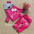 Hot sale autumn clothing Cute KT cat children suit girl leisure suits kitty cat hooded coat +pants 2 pcs set 5 pcs/lot