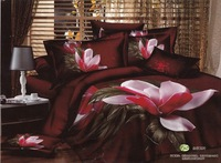 New Beautiful 4PC 100% Cotton Comforter Duvet Doona Cover Sets FULL / QUEEN / KING SIZE bedding set 4pcs wine red Mangnolia