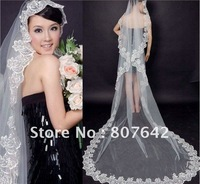 Free shipping Selling Top 1 lowest price one-layer white/beige bridal veil/wedding veil/bridal accessories Cathedral 3M Sky-V046
