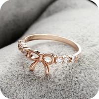 Sunshine jewelry store fashion brief rhinestone bow ring J104 ( $10 free shipping )