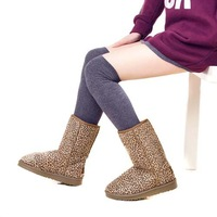 Women's boots,Warm knee-high snow boots,cotton fur  female wedge shoes for cold winter,Free shipping XWX011
