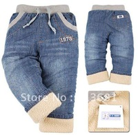 Free shipping !2012 new!Packet mail, children's clothing, thickening lamb flocking children jeans  (for 90-120CM 5 PCS/Lot)
