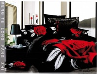 New Beautiful 4PC 100% Cotton Comforter Duvet Doona Cover Sets FULL / QUEEN / KING SIZE bedding set 4pcs black red rose