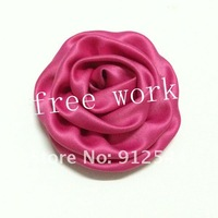 "3"" satin rolled rosette  flower,  free shipping by EMS,  22 colors in stock, 200pcs/lot"