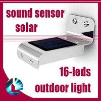 4pcs/lot New Solar Powered 16 LED Light Outdoor/Garden Lighing Wall Lamp Light/Sound Sensor , free shipping