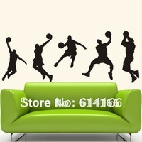 Free shipping  playing basketball PVC wall sticker  home decor self-adhesive  home decal(150*60cm)