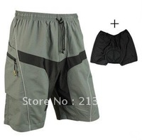 2012 MTB Loose Fit Bicycle Bike Cycling Shorts+Underwear 3D Padded Leisure Pants M L XL XXL