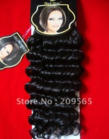 Black Rose Human hair mix protein filament  Hair wefts hair weaving  Deep wavy 10inch-18inch 100g off  black 1B