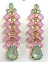 Free shipping 6prs/lot Guarranteed 100% water drop with Mini rectangle grape shape earrings Popular Jelly PINK earrings 115145