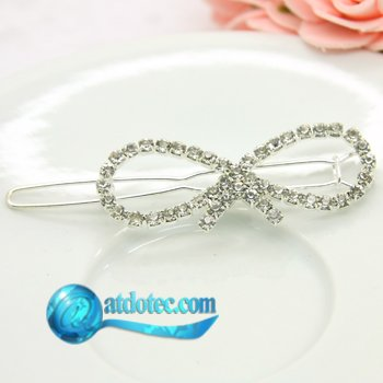 Min Order 12$ Fashion Jewelry Vintage Bowtie Design Rhinestone Hair Clip Hair Accessories Hair Jewelry FS0010