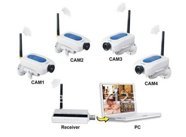 2.4GHz Digital Wireless 4 Camera USB DVR surveillance System Sercurity kit camera and Network DVR(China (Mainland))