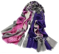 Fashion abstract FenHui blue insets yarn wool scarf
