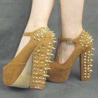 2012 Fashion women's Sexy  punk rivet thick High heel  Pumps/Open toe platform T-strappy sandals/Hot women party shoes/Retail