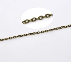 2x10M Bronze Tone Lined Links-Opened Chains 2x3mm(China (Mainland))
