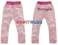 Clearance! New Baby Girl's Pink Elastic Jeans with Embroidery Letters Girl's Tight Pants Strech Pants 5pcs/lot