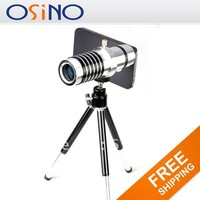 Cheapest $32.29 Universal Wholesale free shipping NEW 14x Zoom Telescope Camera Lens Kit + Tripod + Case for iPhone 4 4S