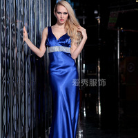 Blue V-neck long design evening dress trailing formal dress 21888