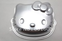 wholesale free shipping 1pc FDA Non-stick Metal Bakeware Silver Color Baking Mold 16*13*4CM 6inch Cartoon Hello Kitty Cake Pan