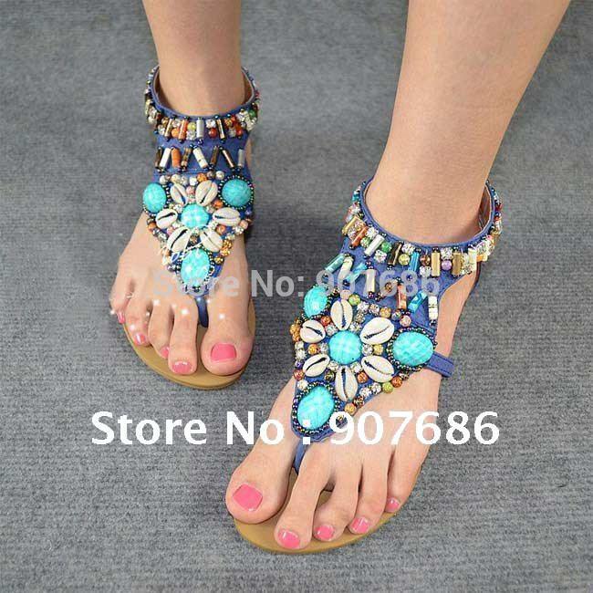 Mulheres menina Boho brilhante Rivet sandália plana calcanhar sandálias sapatos Zip preto bege azul tamanho livre navio sapatos(China (Mainland))