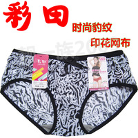 Free shipping 6 choi tin bamboo charcoal fiber panties fashion leopard print net fabric low-waist trunk 30372 6pcs/lot