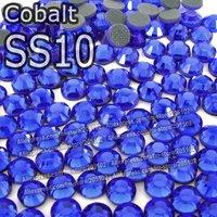 SS10 2.7-2.8mm,1440pcs/Bag Cobalt DMC HotFix FlatBack loose dark blue Rhinestones,DIY Hot Fix iron-on garment crystal stones