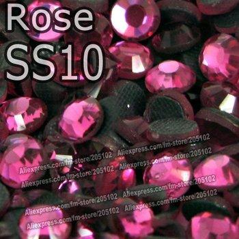 SS10 2.7-2.8mm,1440pcs/Bag Rose DMC Hot Fix FlatBack Rhinestones,heat transfer DIY iron-on garment crystal stones gliters