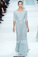 Elie Saab Haute Couture 2013 A-line Blue Tulle Half Sleeves Shiny Beads Handmade Fashion Floor Length Evening Gown Prom Dress