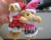 10PCS Plush Stuffed TOY ; Christmas Bear DOLL ; Key Chain Bag Charm Pendant TOY ; Wedding Bouquet Gift TOY DOLL